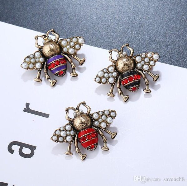 3 Colors Imitation Pearl Crystal Enamel Insect Brooch Pins Hot Sale Personalized Vintage Brooches for Women