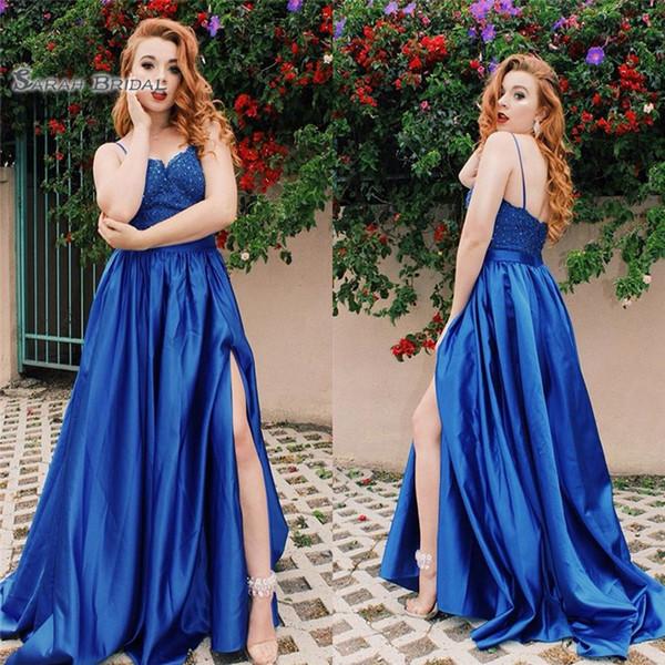 2019 Spaghetti Aline Blau Mit Applikationen Perlen Abendkleid High-End Maßgeschneiderte Vestidos De Novia Party Kleid