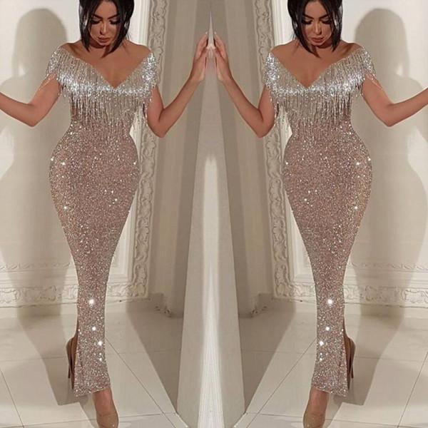 2019 brillantes paillettes sirène robes de bal élégante épaule gland robes de soirée trompette longueur de cheville Split Cocktail robes