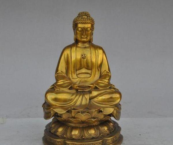 """8"""" chinese tibet buddhism brass copper lotus sakyamuni Tathagata buddha statue"""
