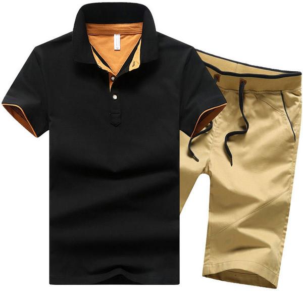 2019 sommer baumwolle herren sets casual taste shirts sets drehen unten herren shorts männer kleidung 2 stück set trainingsanzug shorts m-4xl