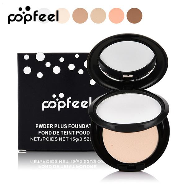 Popfeel Face Press surligneur mat en poudre Bronzer Blush Sleeve minéral translucide Réglage Fond de Teint Maquillage Contour Compact Kit avec Puff