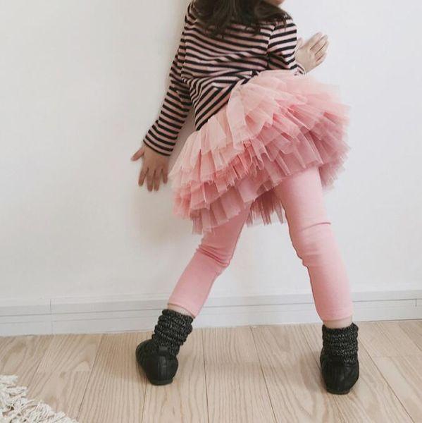 Yeni Sonbahar Kız Tozluk Çocuklar Tutu Etek Tayt 2019 İlkbahar Sonbahar Dantel Etek Tayt Pantolon Çocuk Pantolon 2 Renkler BY0768