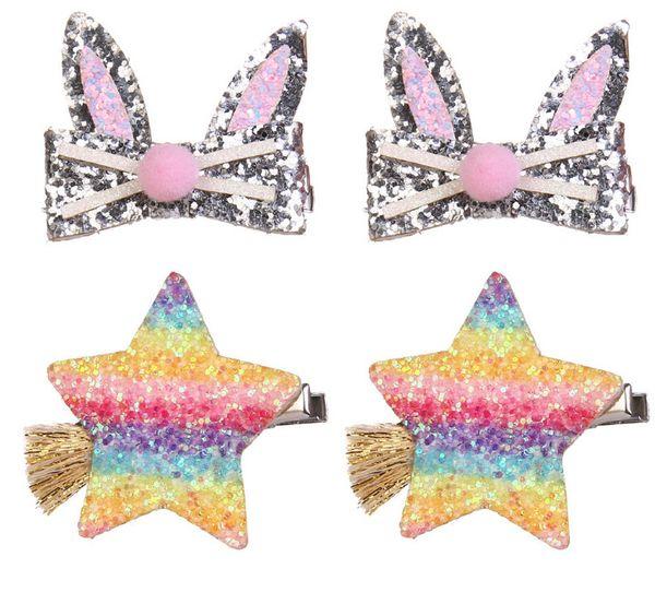 Kinder Pailletten Haarspange glänzende Mädchen Cartoon Pompon Kaninchen Ohr Prinzessin Haarnadeln Kinder Steigung Regenbogen Stern Quaste Haarspangen F2848