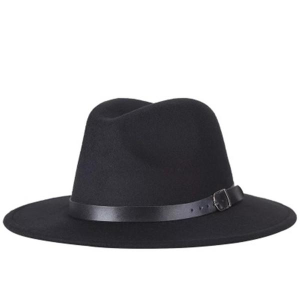 Autumn and winter men's and women's flat-top hat fashion gentleman fisherman hat black wide elegant jazz hat