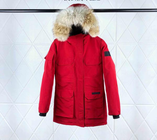 collare coyote siberiani naturale collo di pelliccia pelliccia lungo lusso giacca resistente al freddo verso il basso di alta qualità auto-coltivazione delle donne può essere rimosso