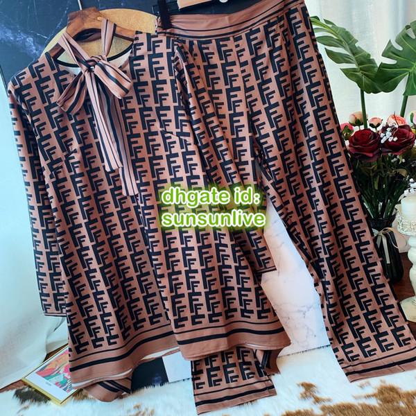 Frauen Luxus Designer Brief Drucken Zweiteilige Hosen Asymmetrische Länge Tops Bluse Hemd Mit Schal + Lange Hosen Hemd Blazer Multi Sets Anzug