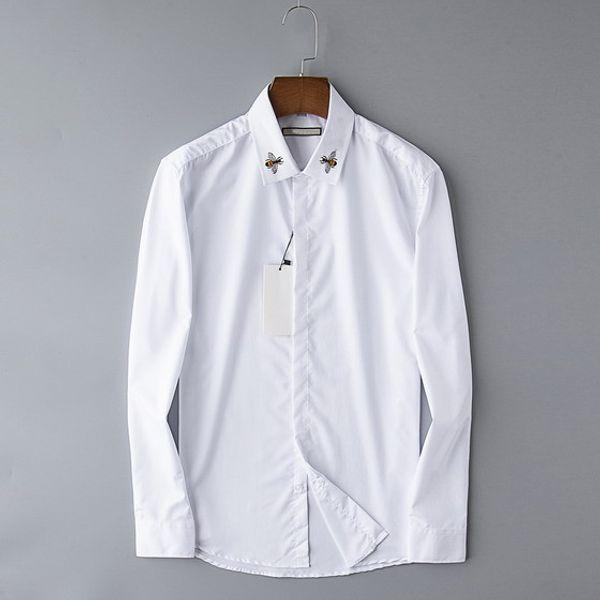 Primavera Nuevo Diseñador Camisas para hombre Moda Casual Noble Reina Abeja Bordado Blanco Oficina de negocios Camisa Blusa de marca de manga larga B100220V