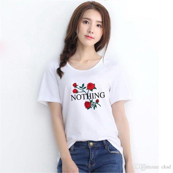 Fashion pocket n roses print t-shirts for women tops mini short sleeve t shirt casual cute crop top graphic tees tshirt NVTX52