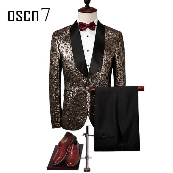 OSCN7 Gold 2017 Fashion Suits for Men Slim Fit Leisure Party Stage New Brand Suit Men Plus Size Casual Terno Masculino Tuxedo