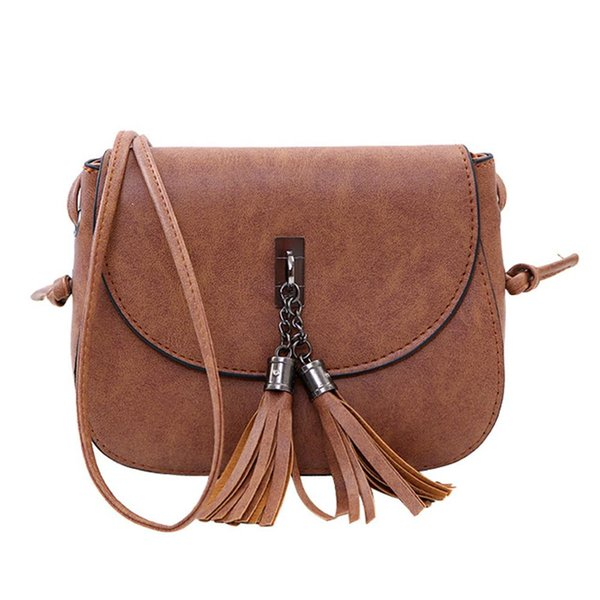 Fashion Practical Solid Color Women Dual Tassel Flap Faux Leather Crossbody Shoulder Bag