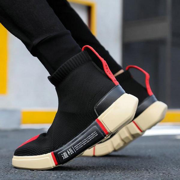 2019 Erkek Çorap örgü rahat ayakkabılar Fly Örgü Erkekler Rahat Ayakkabılar Erkekler Sneaker Flats Rahat Kayma-On Nefes hjn9