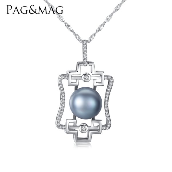 PAG&MAG Brand Luxury Gray Color Pearl Pendant 925 Sterling Silver Wave Chain Women Necklace Popular Jewelry for Party Wedding