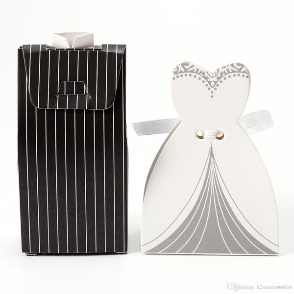 100pcs /50pairs STRIPE bride and groom box wedding boxes favour jewelry boxes gift box
