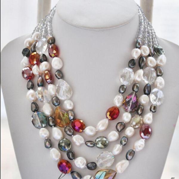 collier Livraison gratuite +++ NOUVEAU 003288 collier de cristal multicolore perle d'eau douce baroque blanc