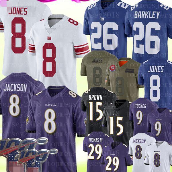 8 Lamar Джексон Baltimores # Ворон Джерси 8 Daniel Jones New York # 26 Giant Saquon Barkley Джерси 15 маркизы Браун граф Томас Ingram Л.Л.