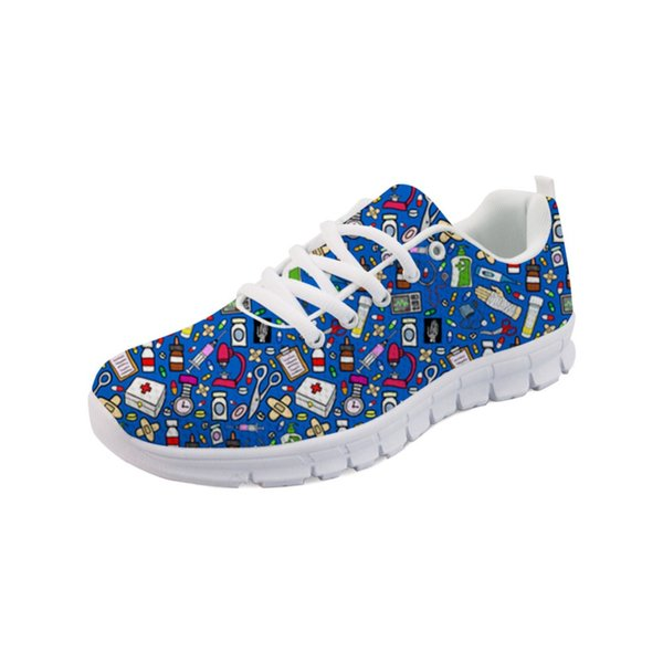 Noisydesigns Spring Nurse Flat Shoes Women Cute Cartoon Nurses Printed Women's Sneakers Shoes Female Breathable Mesh Flats -AQ