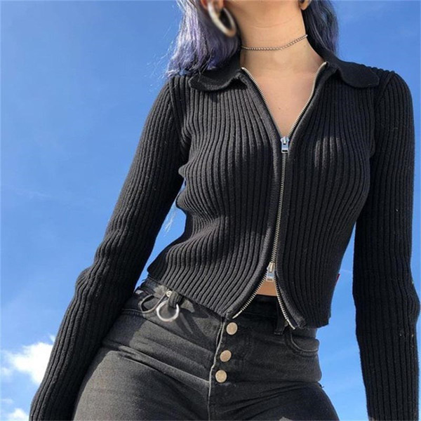 Vintage Retro Women Knit Sweaters Black Long Sleeve Crop Top Turn Down Collar Cardigans Sweaters 2019