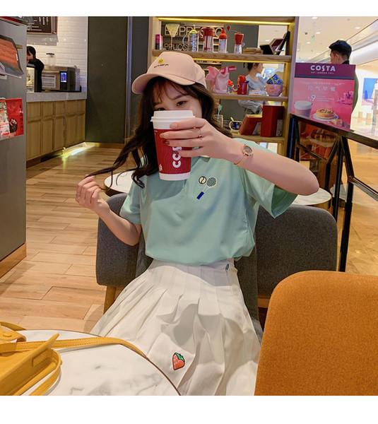 Polos de mujer de lujo 20 19 diseñador de la marca Casual Women Color sólido Verano Nueva PrintShirt Polo cuello manga corta ropa de mujer