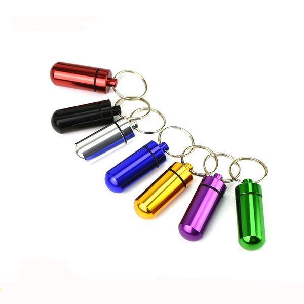 17x48mm Travel aluminum alloy Waterproof Pill Box Case keyring Key Chain Medicine Storage Organizer Bottle Holder Container KeyChain