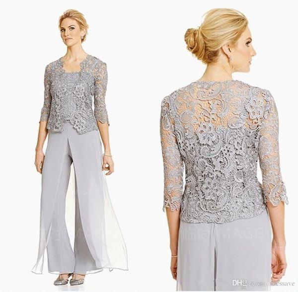 pantalon de soirée élégante femmes soirée mère de la mariée convient 3 pièces plus la taille marié mère pantalon en mousseline de soie en plein air avec veste en dentelle
