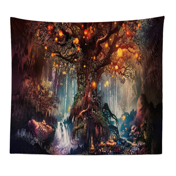 Wishing Trees 3D Print Tapestry Wall Hanging Psychedelic Decorative Wall Carpet Bed Sheet Bohemian Hippie Home Decor Couch Throw Size: 150x1