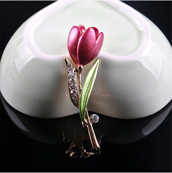 Broche de tulipán de flor de cristal Broche de flor de esmalte Broche de solapa Broche de boda Broche de joyería de moda para mujer Regalo 370197