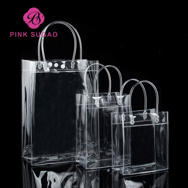 Pink sugao shopping bags high quality transparent PVC gift handbag waterproof package handbag can print logo custom and many size wholesale
