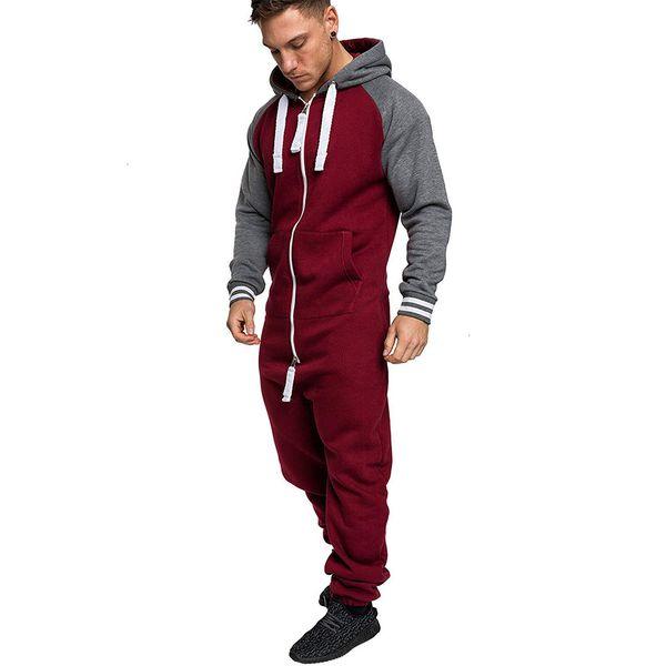 TOUT EN UN Jumpsuit Men Toison Nigtwear pyjama sweat à capuche zip Onesie sommeil Salon adulte de nuit One Piece Pyjama Homme OnesiesMX190904