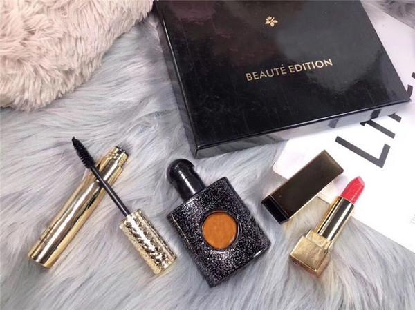 New Arrivals Juego de tres piezas de lápiz labial, perfume y rímel regalo perfecto para niña Caja de regalo de empaque exquisito, envío gratis.