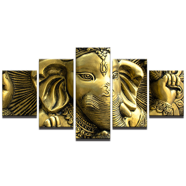 India Elephant Head God Ganesha Pictures,5 Pieces Canvas Prints Wall Art Oil Painting Home Decor (Unframed/Framed)