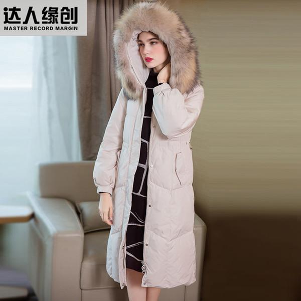 Invierno Mujer Casual Algodón Abajo Chaqueta Con Capucha Largo Parkas Cuello de piel Ropa Cálido abrigo de invierno femenino