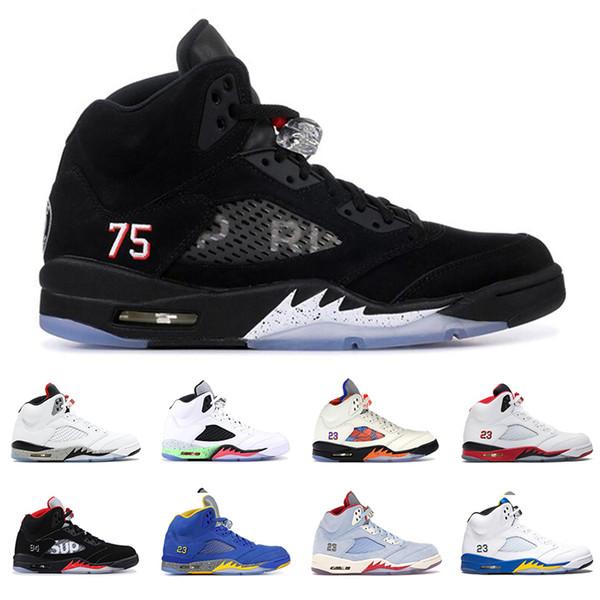 2019 Nuevos zapatos de baloncesto para hombre 5s 5 Azul hielo LANEY Desert Camo Fresh Prince Olympic Pro Star CEMENT hombres zapatillas deportivas tamaño 8-13