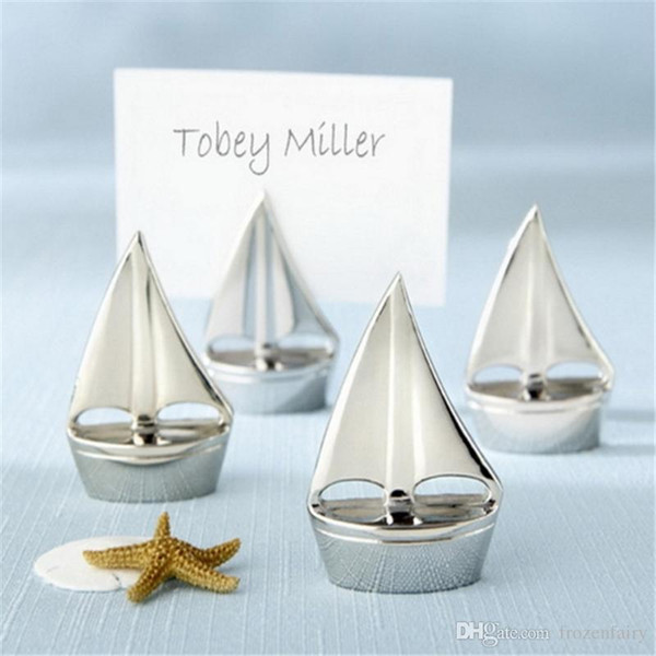 """Beach Themed """"Shining Sails"""" Silver Sailboat Place Card Holders Party Favors Wedding Decoration Supplies DHL Free Shipping 2018111602"""