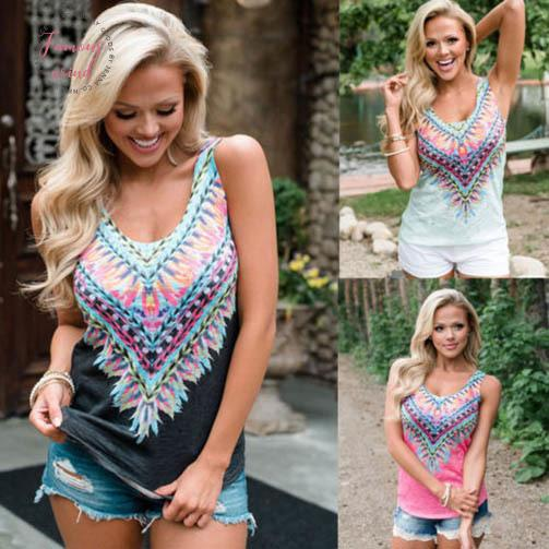 2019 Fashion Womens Printed Floral V Neck Boho Tank Top Vest Sleeveless Loose Summer Beach Casual Tops