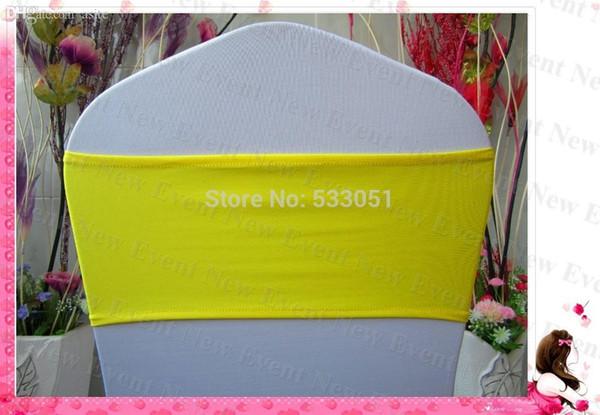 All'ingrosso strato giallo Singolo colore Fasce Spandex / Lycra Banda / banchetti decorazioni della sedia della copertura dei telai per la festa di nozze