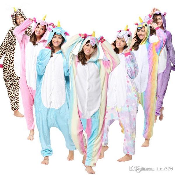 Toptan Hayvan Dikiş Unicorn Panda Ayı Koala Pikachu Yetişkin Erkekler Kadınlar Için Unisex Cosplay Kostüm Pijama Pijama T2I133