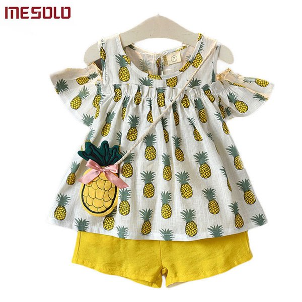 good quality The new summer 2019 girls pineapple strapless dress shirt + shorts two suits U2208 the doll B
