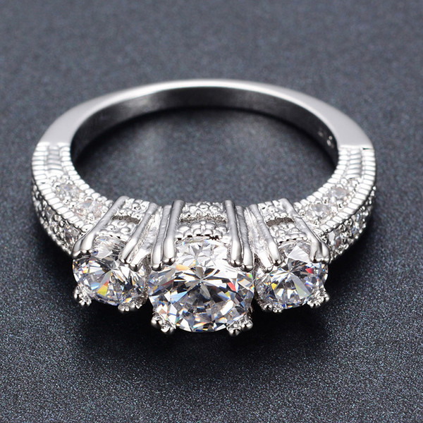 Silver Crystal Ring Female Anelli Bijoux Anillos Wedding Engagement Rings For Women Anel Jewelry free shipping