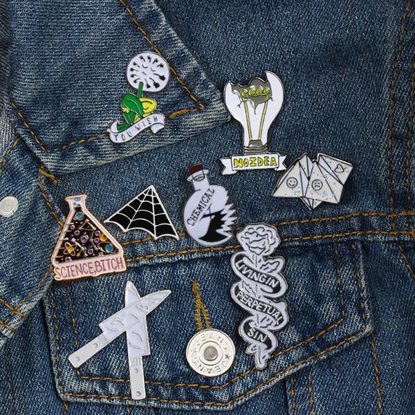 Punk Style Brooch Rose Kid Origami Game Knife Chemical Beaker Spider Web Enamel Pin Badge Men Women Shirt Lapel Backpack Jewelry