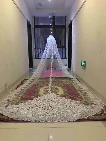 Bling Bling lentejuelas abalorios catedral velos de novia apliques encaje borde cristales 1T con peine adjunto largo 5 M velo