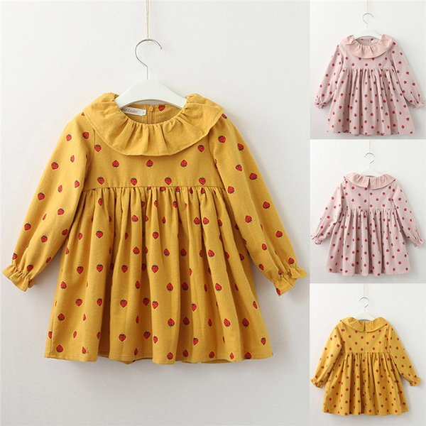Baby Girl Clothes Long Sleeve Girls Dress Toddler Baby Kids Girls Strawberry Printed Ruffles Party Princess Dress robe fille D13