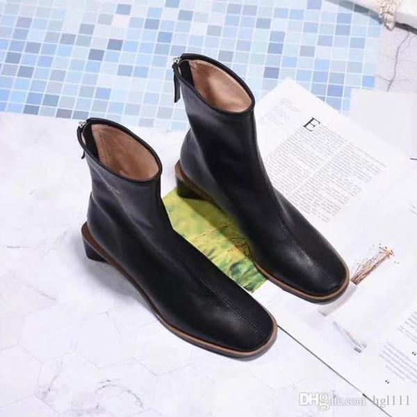 Çizme Sonbahar Ve Kış Boots Şort Avrupa Ve Amerika Birleşik Devletleri Rüzgar Ayakkabı Kalın ile Kare Kafa Deri Geri Fermuar Martin Boots Kadınlar
