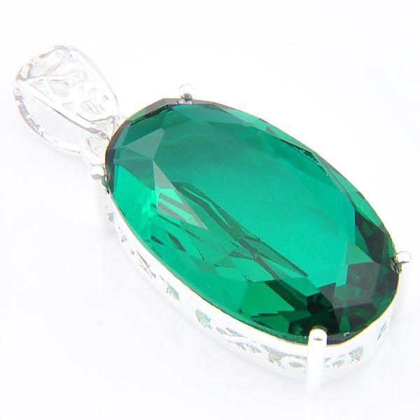 5 Stücke 1 los LuckyShine Sonderangebot Oval Riesige Grüne Quarz Kristall Anhänger Silber Hochzeit Halskette Anhänger Schmuck 15 * 28 mm