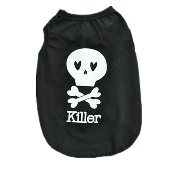 polyester corsair print dog clothes classic pattern skull vest for teddy pet puppy summer black t shirt for small dog