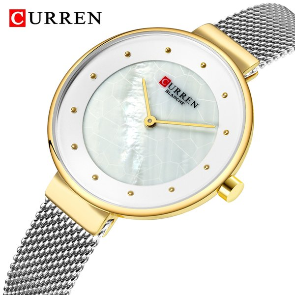 CURREN Fashion Luxury Mesh Belt Thin Ladies Wrist Watch Simple Dial Quartz Watches 2019 Female Bracelets Watches Relogio Feminino