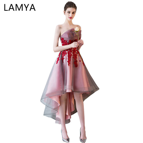 Lamya Short Front Back Long Tail Prom Dresses Women Banquet High Low Evening Party Dress 2019 Vintage Lace Scalloped Formal Gown Y19042701