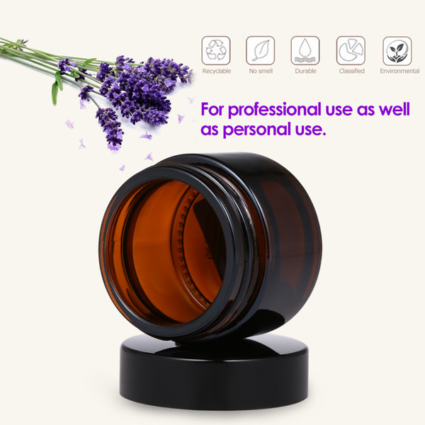 60pcs 50ml Amber Glass Jar Pot Skin Care Cream Refillable Bottle Cosmetic Container Makeup Tool For Travel Packing