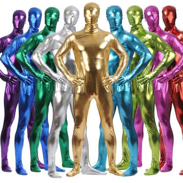 Multi Farben Shiny Ganzkörper Haut Overall Männer Metallic Zentai Reißverschluss Zurück Dehnbarer Body Halloween Cosplay Kostüm + Maske