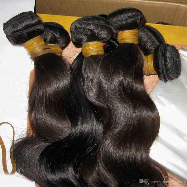 Girl natural hiny raw cambodian virgin body wave hair 3 bundle 300g no chemical proce 8a world charming lady, Black